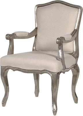 Silver Arm Chair with Pale Upholstery