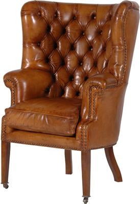 Leather Buttoned Armchair in Brown