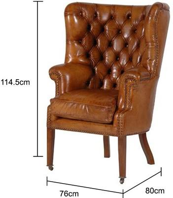 Leather Buttoned Armchair in Brown image 2