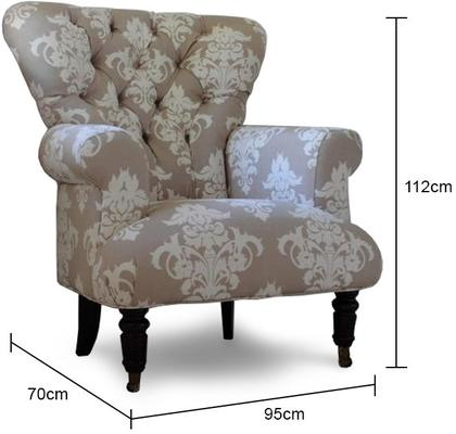 Beige flocked upholstered armchair image 2
