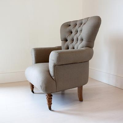 Beige flocked upholstered armchair image 8