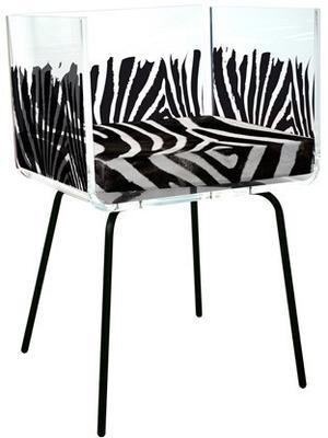 Acrylic Zebra Box Chair image 2