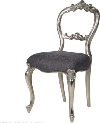 French Open Back Chair Antiqued Silver