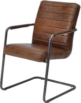 Rodeo Ribbed Brown Leather Dining Chair