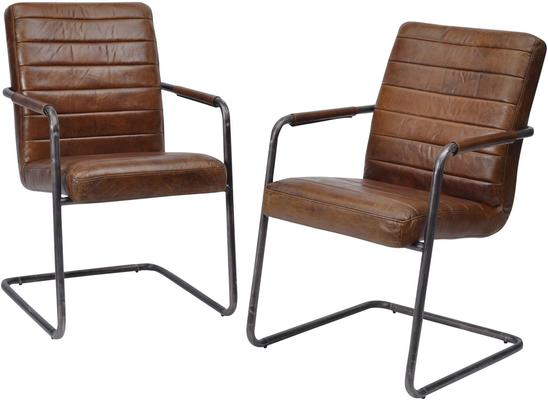Rodeo Ribbed Brown Leather Dining Chair image 2