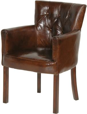 Bijoux Brown Leather Back Buttoned Club Armchair