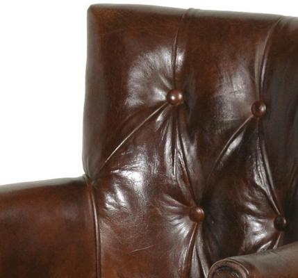 Bijoux Brown Leather Back Buttoned Club Armchair image 2