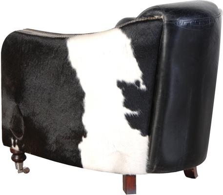 Black and White Leather Hide Tub Chair image 2