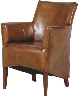 Italian Brown Leather Armchair