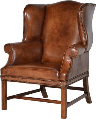 Italian Vintage Tan Leather Wing Chair
