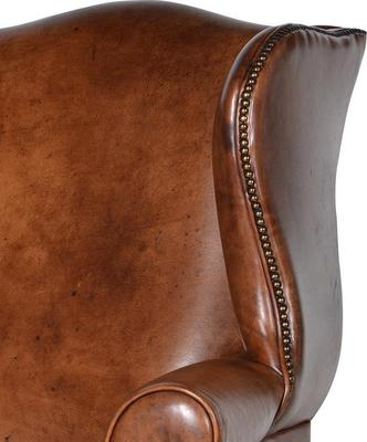 Italian Vintage Tan Leather Wing Chair image 2