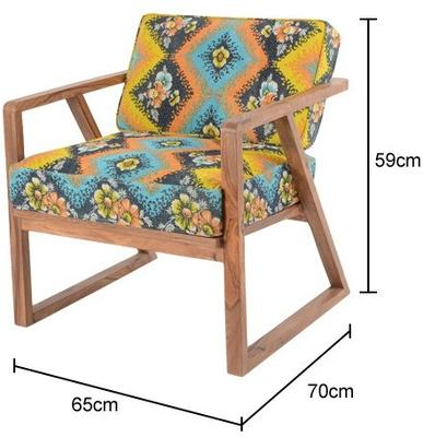 Retro Ethnic Chair With Bright Kantha Fabric image 2
