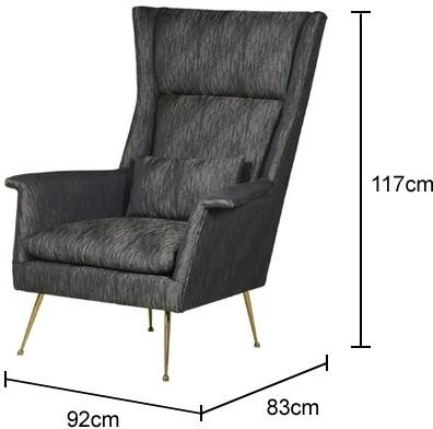 High Back Retro Armchair in Charcoal Grey image 2