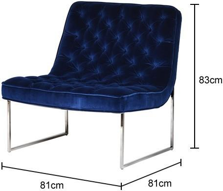 Blue Velvet and Stainless Steel Buttoned Club Chair image 2