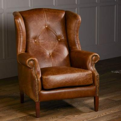 Wing Diamond Button Armchair Leather, Wool or Tweed