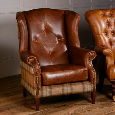 Wing Diamond Button Armchair Leather, Wool or Tweed image 2