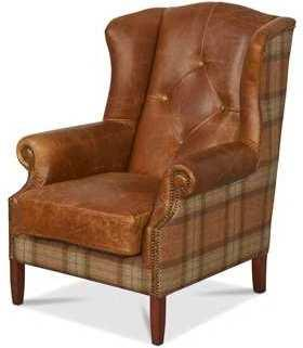 Wing Diamond Button Armchair Leather, Wool or Tweed image 3