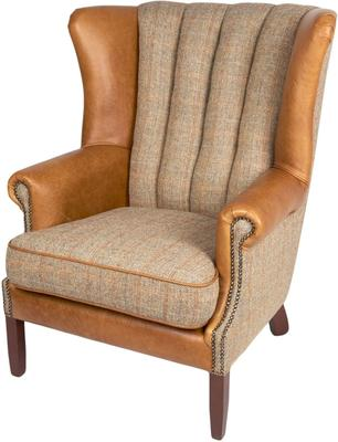 Fluted Wing Armchair Leather, Wool or Tweed