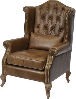 Woodcroft Brown Distressed Leather Armchair Buttonback