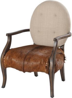 Homestead Mindi Wood Louis Chair Goat Skin Oval Back