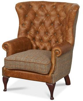 Brown Cerato Leather and Tweed Wing Wrap Armchair