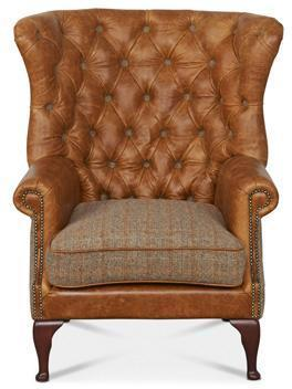 Brown Cerato Leather and Tweed Wing Wrap Armchair image 2