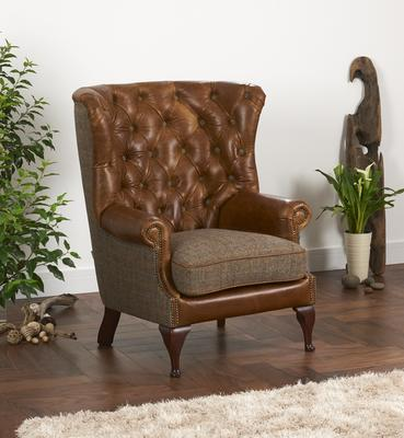 Brown Cerato Leather and Tweed Wing Wrap Armchair image 3