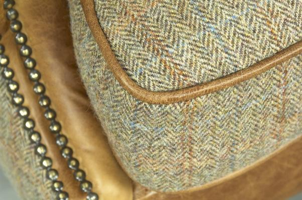 Brown Cerato Leather and Tweed Wing Wrap Armchair image 4