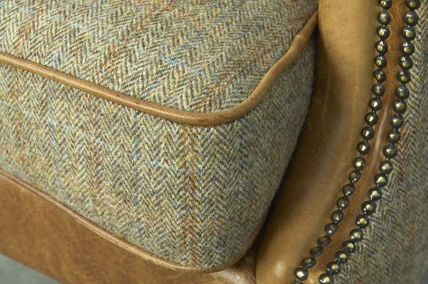 Brown Cerato Leather and Tweed Wing Wrap Armchair image 5