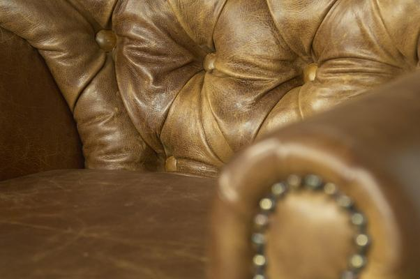 Brown Cerato Leather and Tweed Wing Wrap Armchair image 6