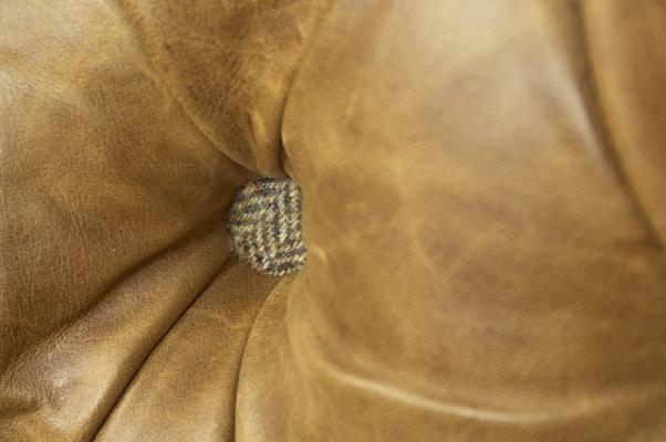 Brown Cerato Leather and Tweed Wing Wrap Armchair image 7