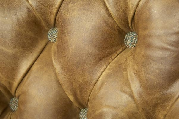 Brown Cerato Leather and Tweed Wing Wrap Armchair image 8