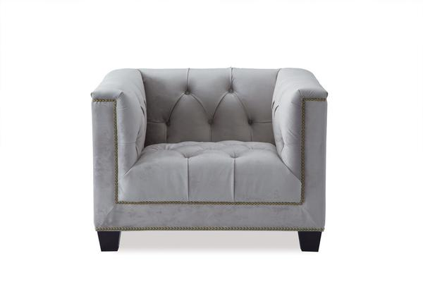 Monroe Occasional Buttoned Armchair Grey or Blue image 5