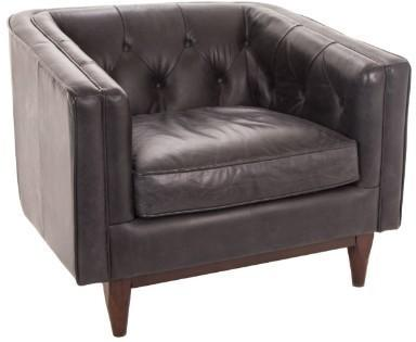 Natty Armchair Italian Black Leather Buttoned