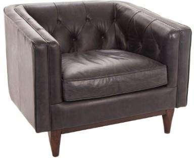Natty Armchair Italian Black Leather Buttoned image 2