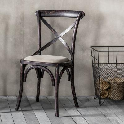 Crossback Black Chair with Canvas Seat image 2