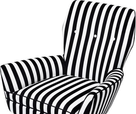 Paris Chic Velvet Chair Striped or White image 4