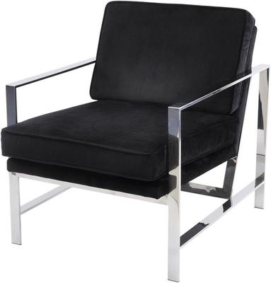 Caverly Black Velvet and Chrome Occasional Chair