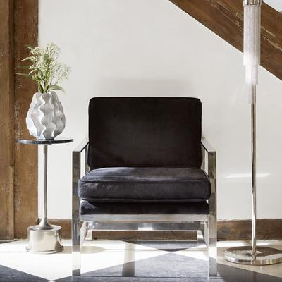 Caverly Black Velvet and Chrome Occasional Chair image 3