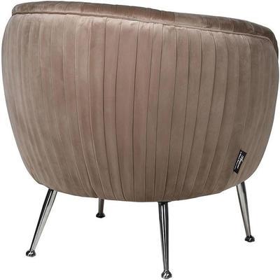 Beige Velvet Pleated Chair