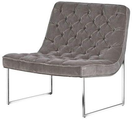 Grey Buttoned Velvet Club Chair