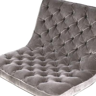Grey Buttoned Velvet Club Chair image 2