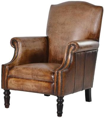 Distressed Brown Aged Leather Armchair