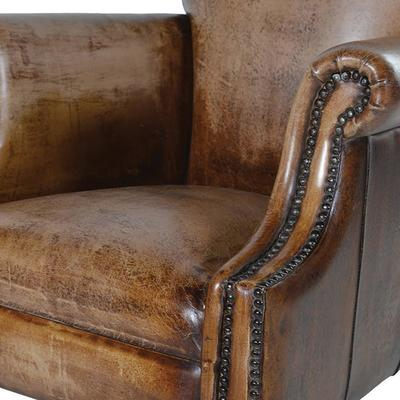 Distressed Brown Aged Leather Armchair image 2