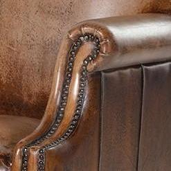 Distressed Brown Aged Leather Armchair image 4
