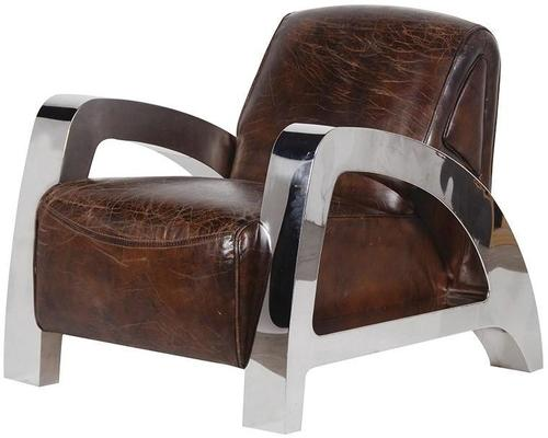 Antique Italian Leather and Steel Chunky Armchair