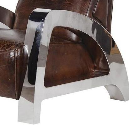 Antique Italian Leather and Steel Chunky Armchair image 2