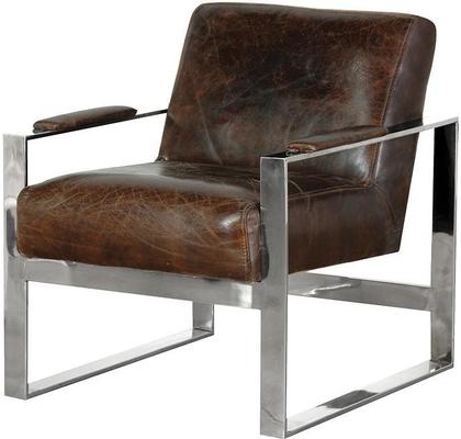 Leather and Stainless Steel Retro Armchair