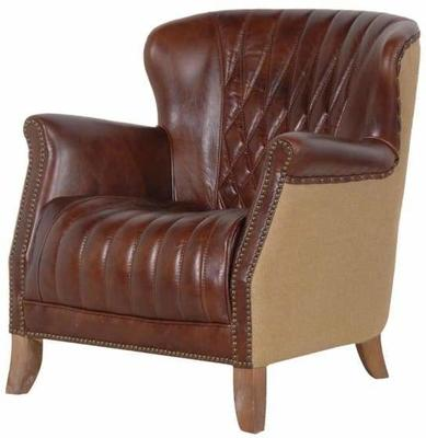 Diamond Back Antique Brown Leather Armchair