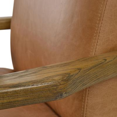Albury Tan Leather And Wood Occasional Chair image 2